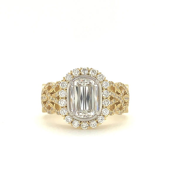 Christopher Designs L'Amour Crisscut   Diamond Ring 1.07ct With Halo | Blacy's Fine Jewelers
