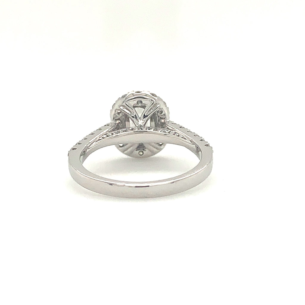 0.61ctw Center Christopher Designs Halo L'amour Crisscut Ring, 18K W.G. | Blacy's Fine Jewelers