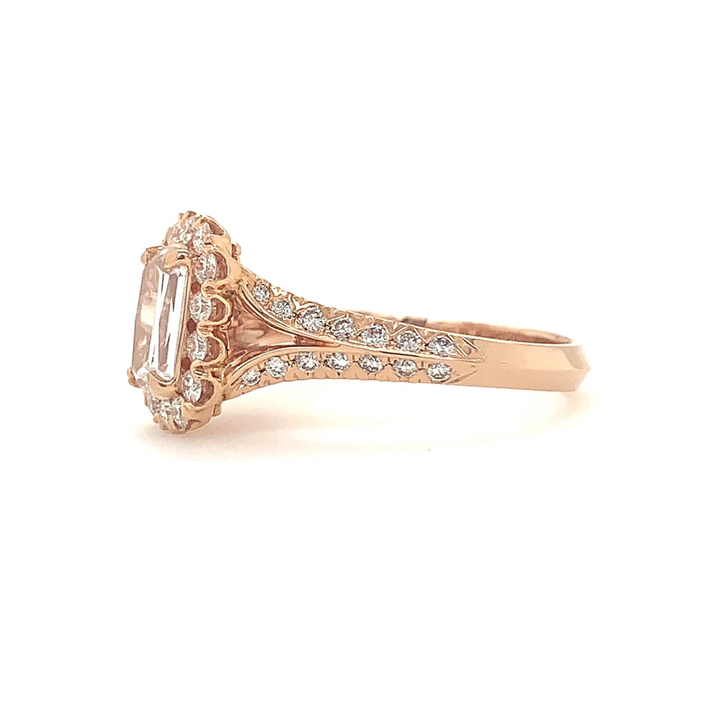 0.80ct Christopher Designs L'amour Crisscut Ring, on 14K Rose Gold | Blacy's Fine Jewelers