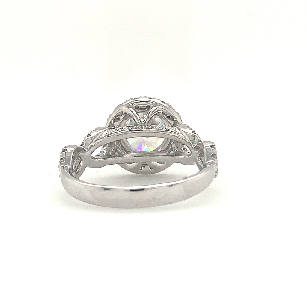 0.63ctw Christopher Designs Round Halo Semi Mounting, Middle stone CZ, 18K White Gold | Blacy's Fine Jewelers