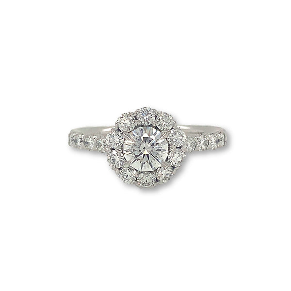 0.75ct Christopher Designs Round Crisscut Halo Diamond Ring, 18K White Gold | Blacy's Fine Jewelers