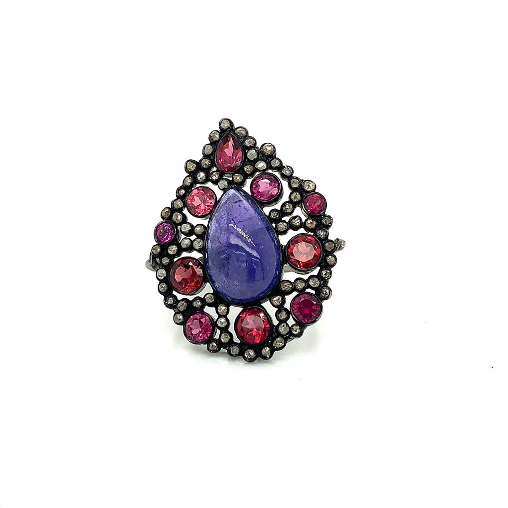 Oxidized Sterling Silver, Pink Tourmaline, Tanzanite and Diamonds Fashion Ring. | Blacy's Fine Jewelers