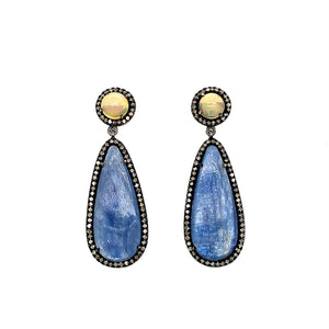 Oxidized Sterling Silver, Opal and Kyanite and Diamond Earrings | Blacy's Vault