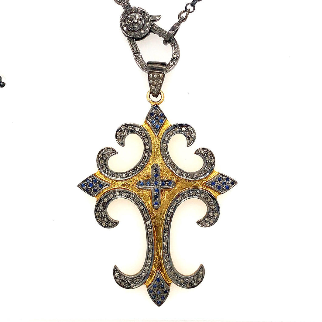 Sterling Silver And 24K Gold Vermeil Black Diamond Cross Pendant | Blacy's Vault