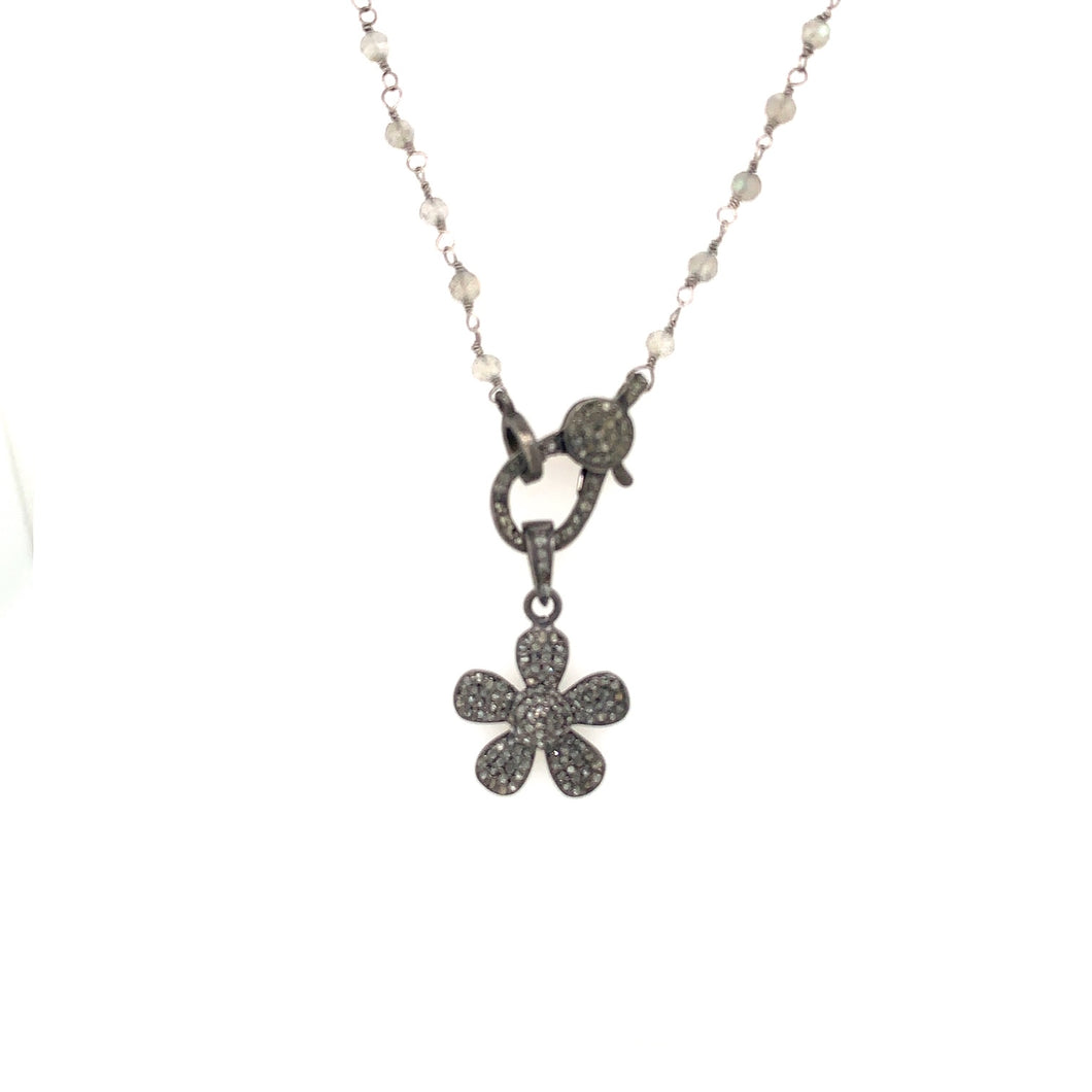 Oxidized Sterling Silver Flower Necklace, with Gray DIamond Clasp and Silver Labradorite Necklace | Blacy's Vault