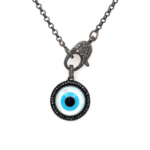 Evil Eye mother of Pearl Eye Pendant with Clasp Blackened Silver With Diamonds | Blacy's Vault