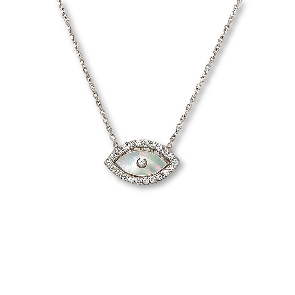 Evil Eye Mother of Pearl CZ Pendant | Blacy's Vault