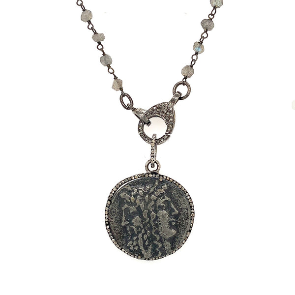 Gemini Silver Coin with Diamonds Pendant Oxidized Sterling Silver | Blacy's Vault