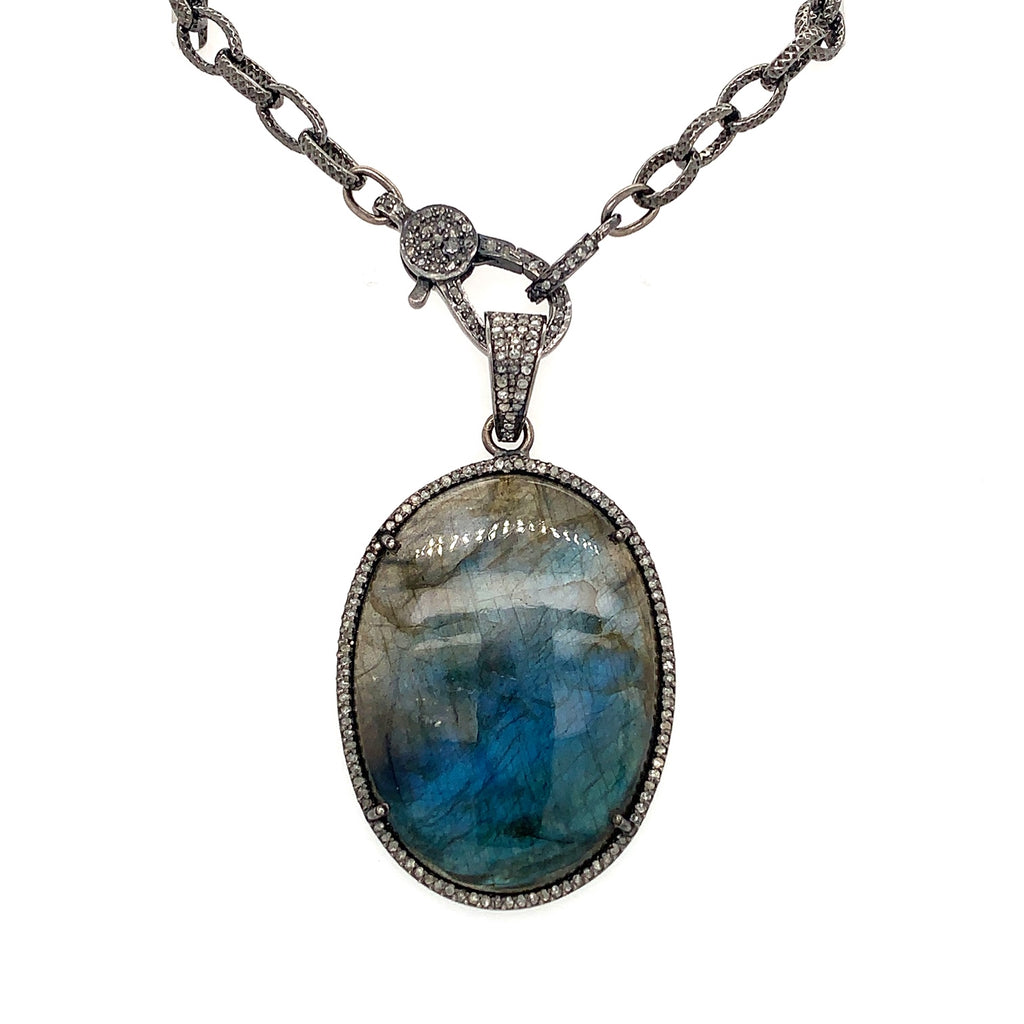 Oxidized Sterling Silver Diamond And  Labradorite Pendant With Diamond Clasp Chain | Blacy's Vault