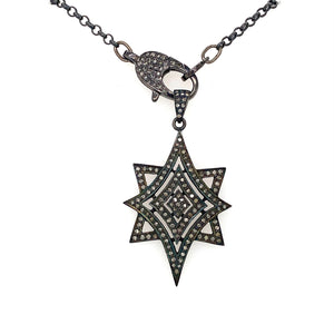 Sterling Silver And Black Diamond Star Necklace with 18in chain and Diamond Clasp | Blacy's Vault