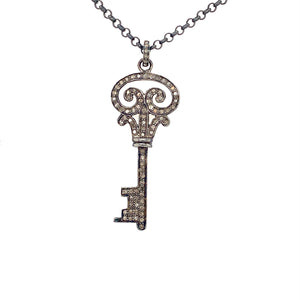 Oxidized Sterling Silver Key Diamond And 18in Chain Pendent | Blacy's Fine Jewelers