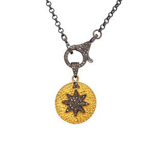 Blackened Silver and Gold Plated Star with .30ctw Diamond Accents on a 20in Chain | Blacy's Vault