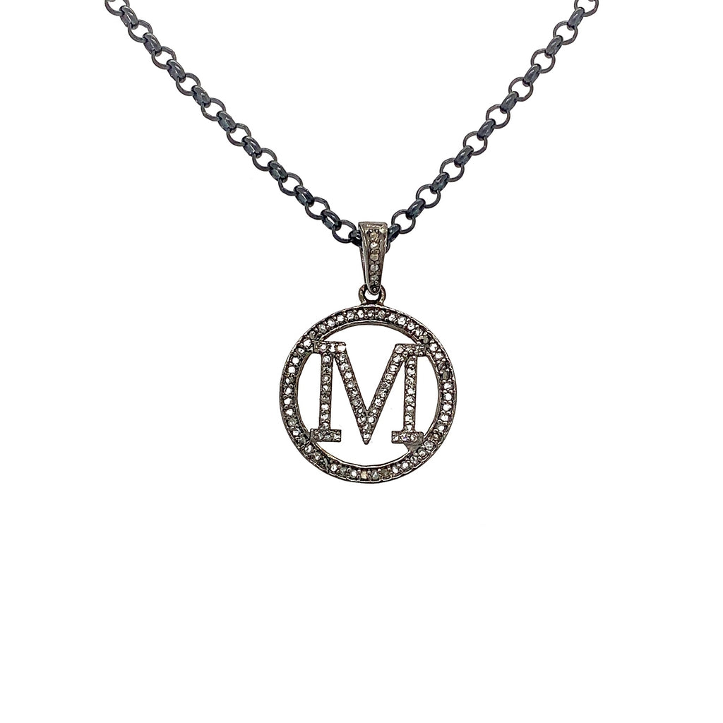 M initial Sterling Silver and Diamonds Necklace 16 Inch Blackened Silver chain | Blacy's Vault