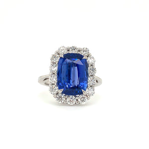 Natural Blue Sapphire and Diamond Important Radiant Cut 5.30ct Cornflower Blue Sapphire Gem Stone with Diamond Halo 1.13ctw Ring | Blacy's Vault
