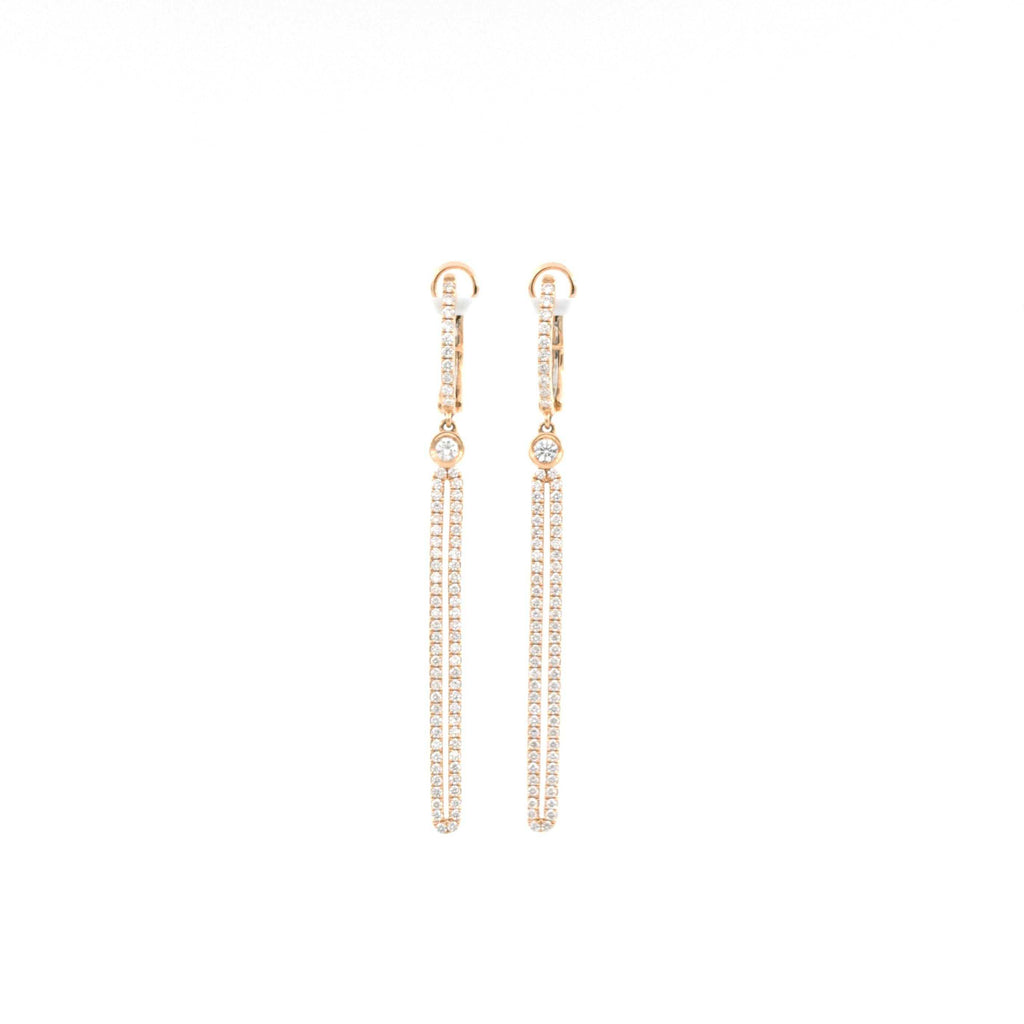 1.11ctw Dangle Diamond Earrings, made on 18K Rose Gold | Blacy's Fine Jewelers