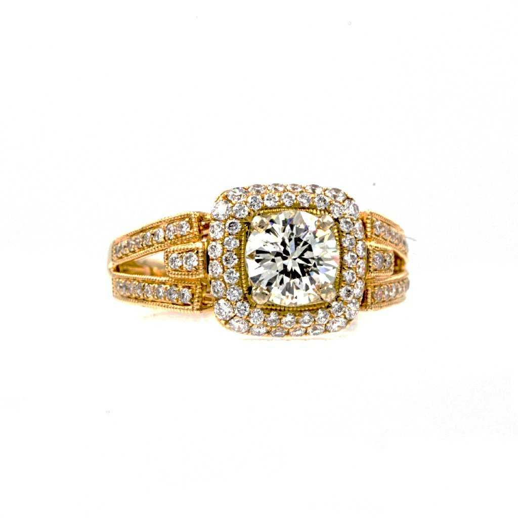 European Round Cut With Double Row Cushion Halo Diamond Ring 14K White and Yellow Gold 1.60 ctw | Blacy's Fine Jewelers