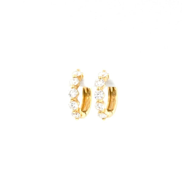 0.59ctw Diamond Huggie Hoop Earrings 10mm in Diameter | Blacy's Fine Jewelers