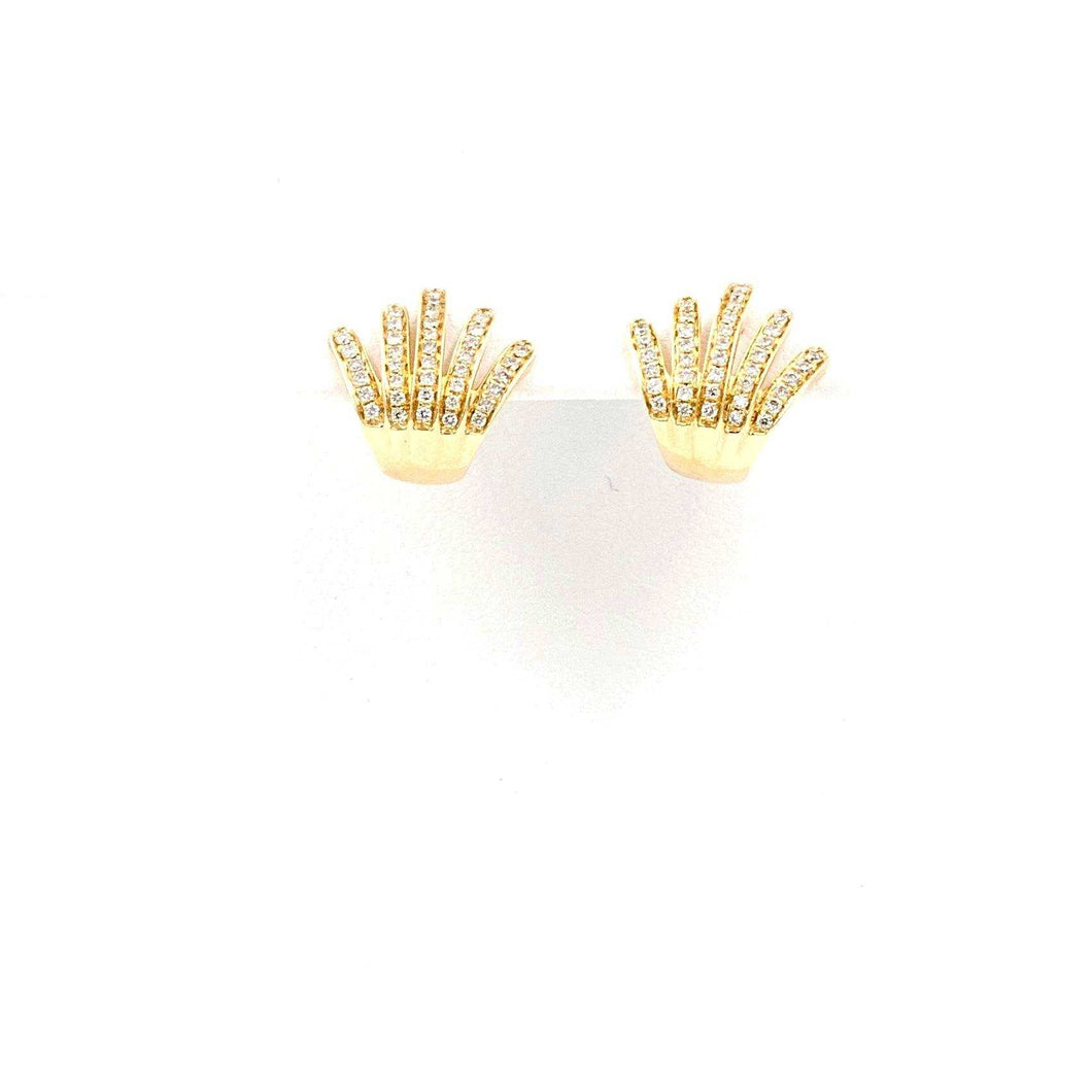 Gold Crown Diamond Paved Earrings