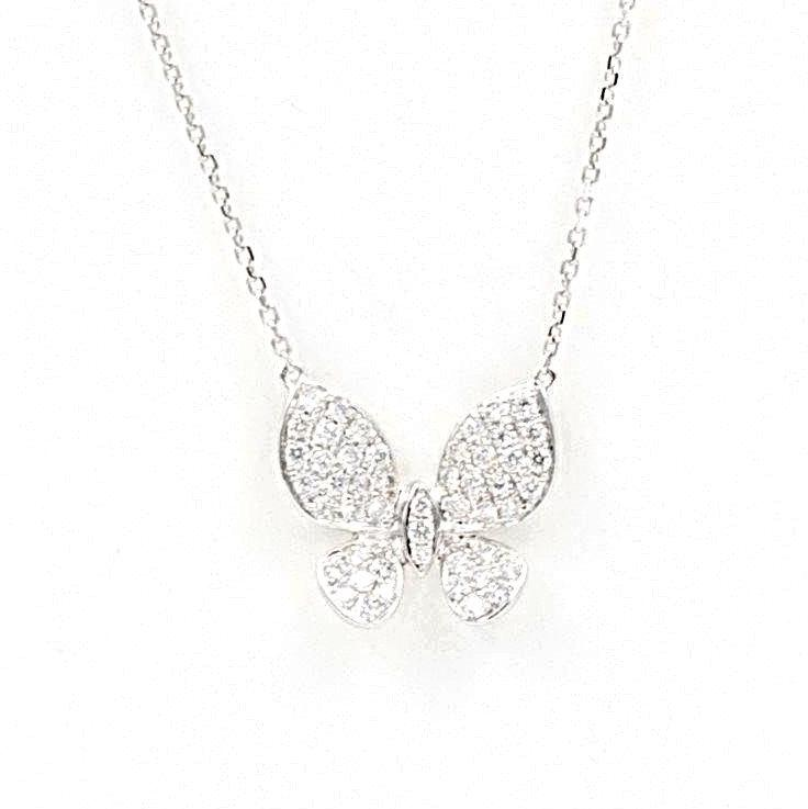 Pave Diamond Butterfly Pendant 18 kt white gold.