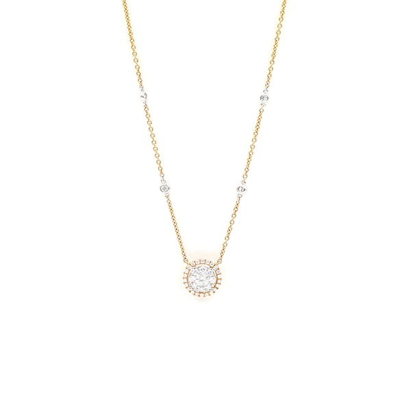 "Diamond Circle Necklace 0.44 ctw 18"" Adjustable Chain 14K Rose Gold 