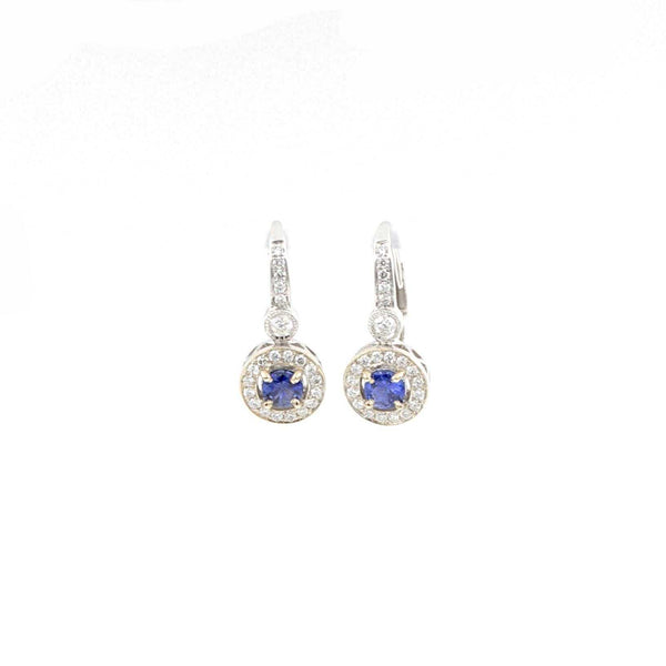 14K White Gold Blue Sapphire .62ctw and Diamond .65ctw Halo Leverback Earrings | Blacy's Fine Jewelers