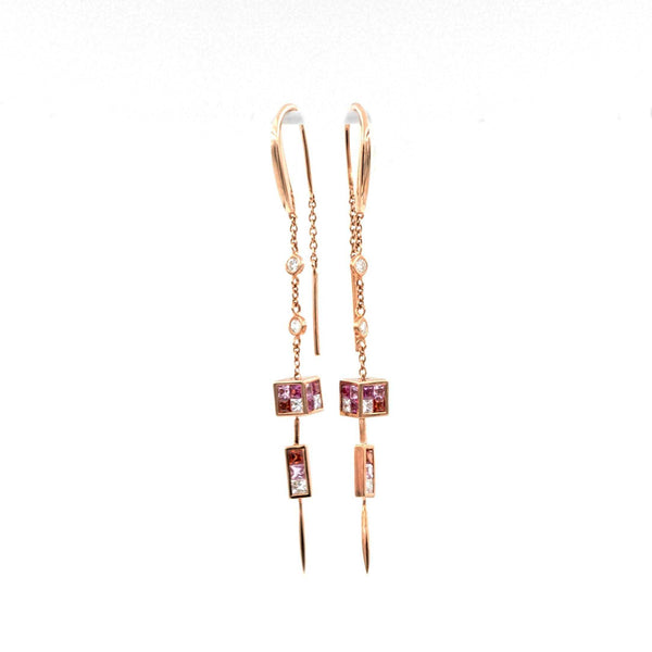 Rose Gold and Pink Sapphire Ruby and Diamond Earrings | Blacy's Fine Jewelers