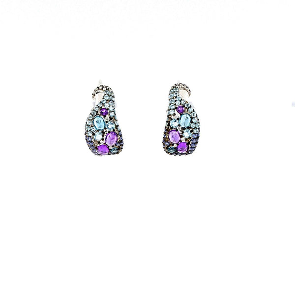 Ombre Sapphire, Amethyst, Topaz and Diamond Hoop Earrings | Blacy's Fine Jewelers
