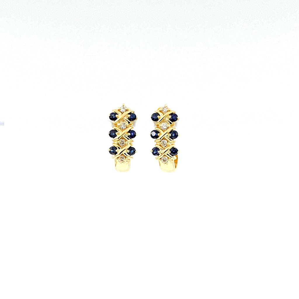 14K Yellow Gold Blue Sapphire and Diamond J hoop Earrings | Blacy's Fine Jewelers