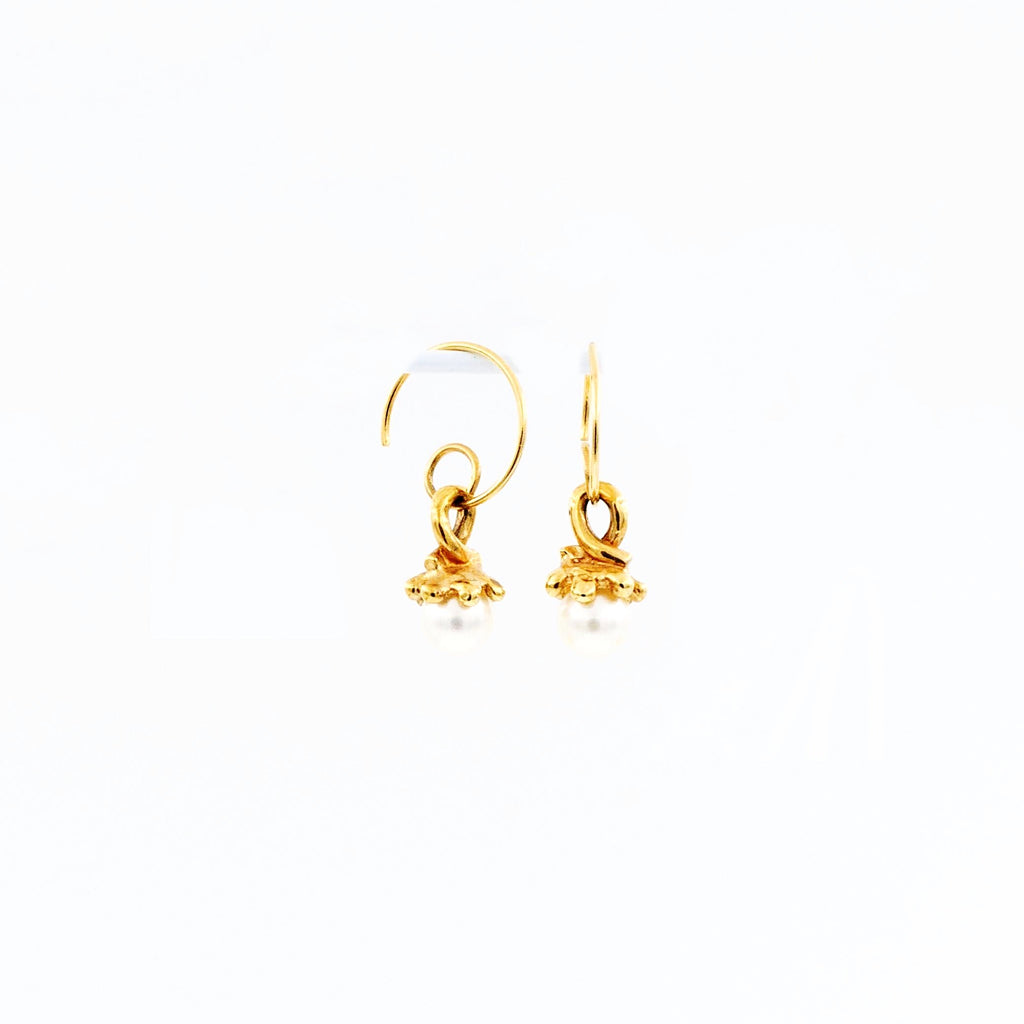 White Fresh Water Pearl Spiral Hoop Dangle Earring 14K Yellow Gold | Blacy's Fine Jewelers