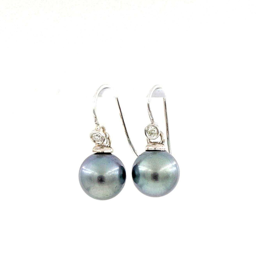 Tahitian Southsea Pearl and Diamond Drop Wire Earring 14 kt White Gold. | Blacy's Fine Jewelers