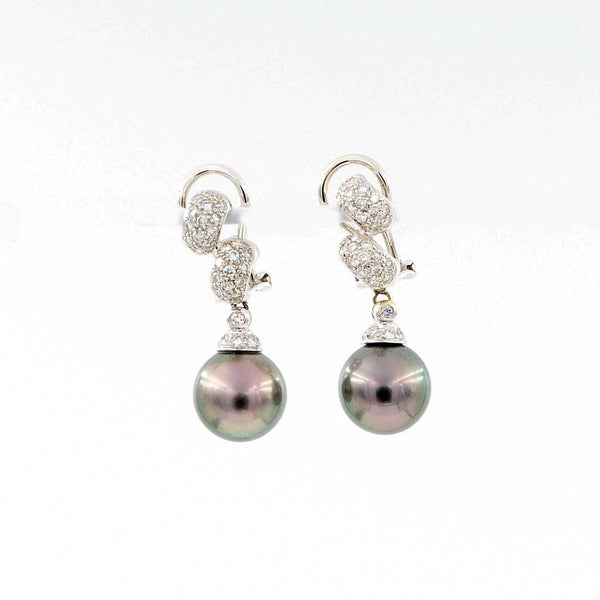 Tahitian Black Pearl and Diamond Drop 18 kt White Gold Earclips. | Blacy's Fine Jewelers