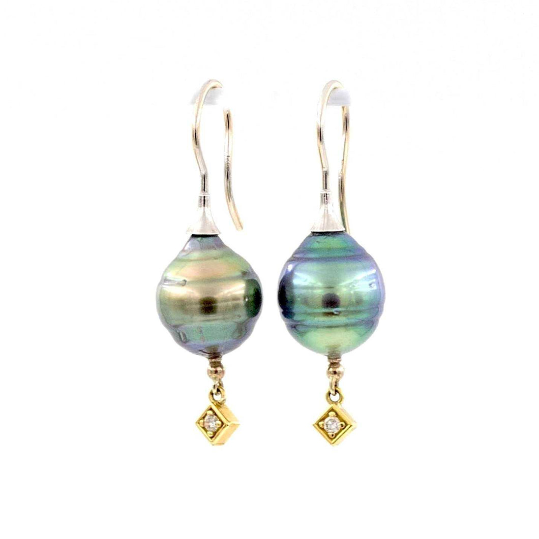 Black Tahitian Circle Pearl Drop Diamond Earring