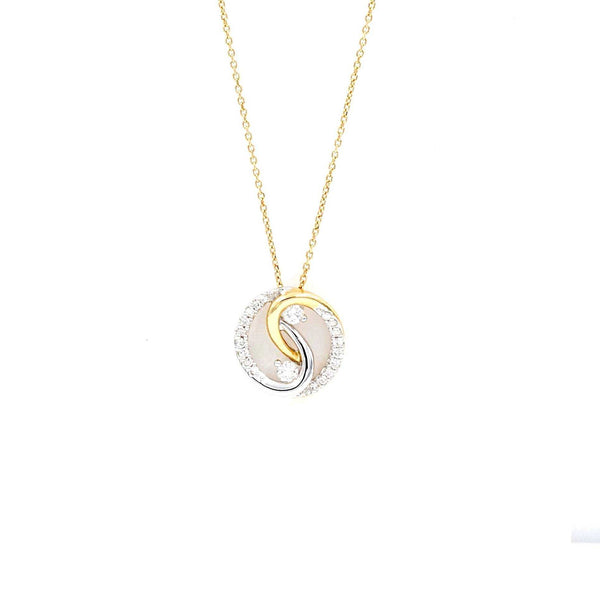 Bride's Pendant Yin and Yang 12 Diamonds Equals 0.40 ctw Diamond 14K White and Yellow Gold | Blacy's Fine Jewelers