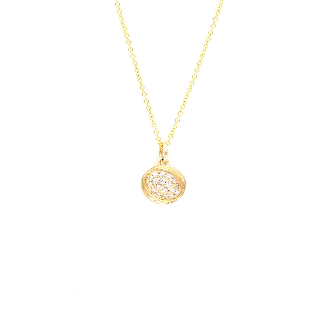 Pave Diamond Pendant in Yellow Gold