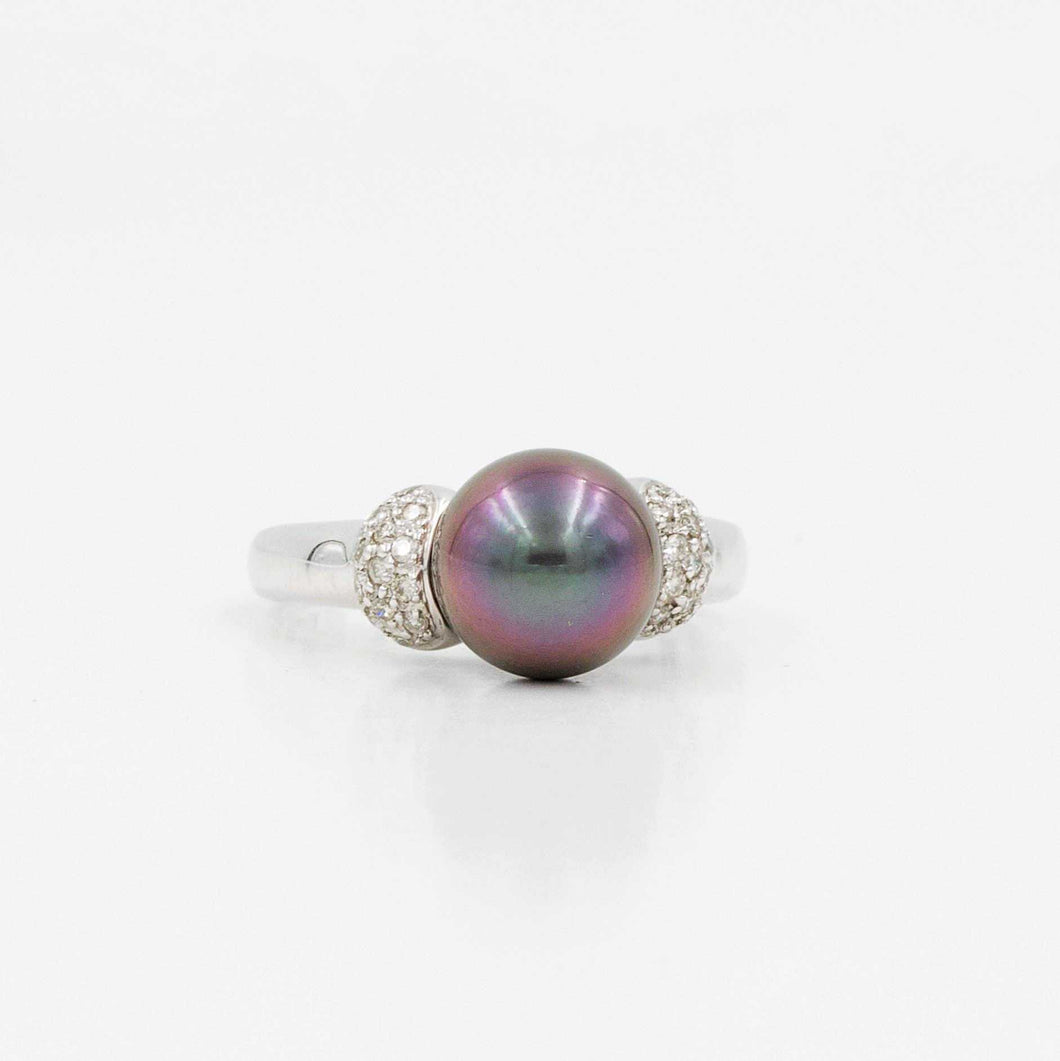 Tahitian Black Pearl Ring with Diamonds | Blacy's Fine Jewelers