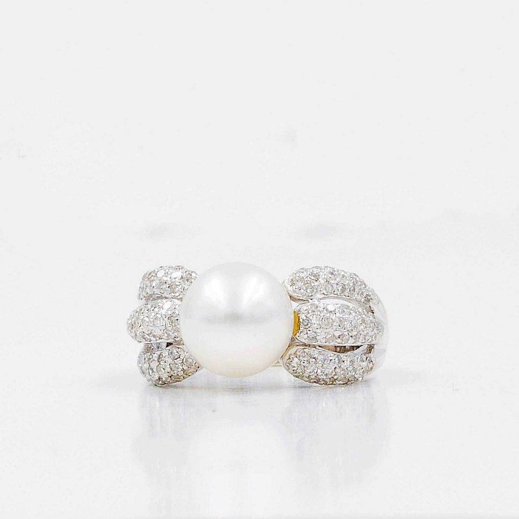 South Sea Cultured pearl and diamond ring.