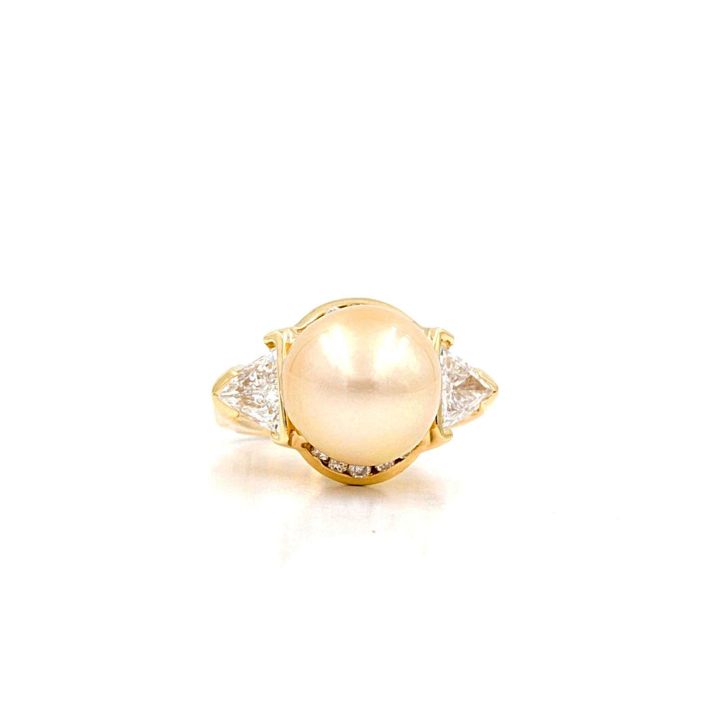 Golden Yellow South Sea Pearl and Diamond Ring | Blacy's Fine Jewelers