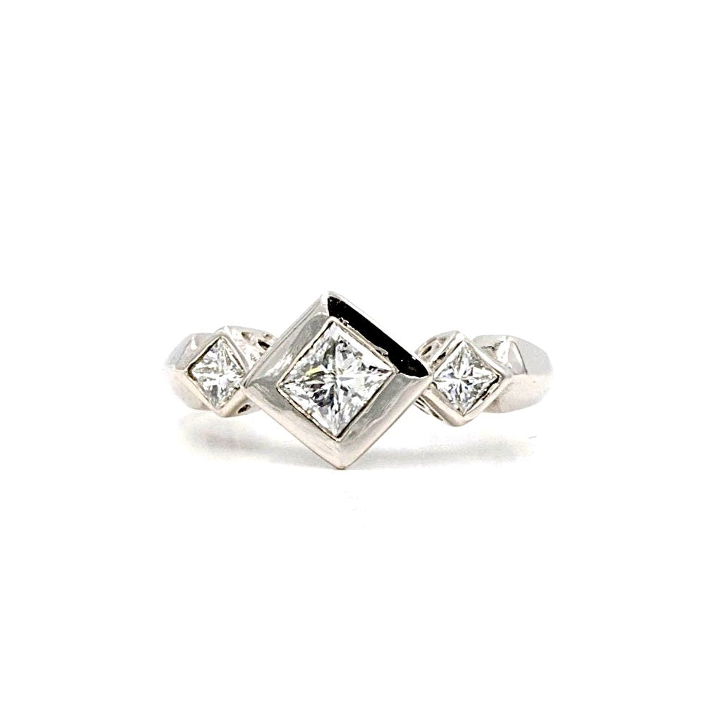 Three Stone Princess Cut Diamond Ring