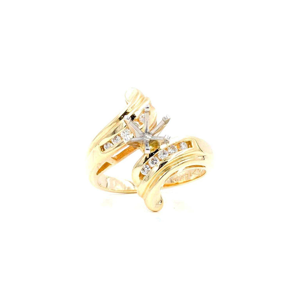 Fashion By Pass Retro Yellow Gold Semi Mounting | Blacy's Fine Jewelers