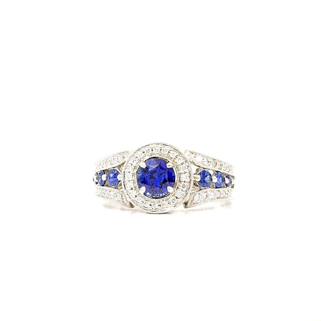 Blue Sapphire and Diamond Halo Ring Sapphires equal to 1.68ctw Diamonds Equal .40 ctw 14K White Gold | Blacy's Fine Jewelers