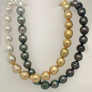 Natural Ombre White, Gold, Grey, and Black South Sea Pearl Strand 36 Inches long No Clasp | Blacy's Fine Jewelers