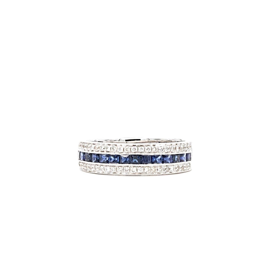 18K White Gold Princess Cut Sapphire And Round Brilliant Cut Diamond Band Sapphire equals .76ctw and Diamond equals .22ctw | Blacy's Fine Jewelers