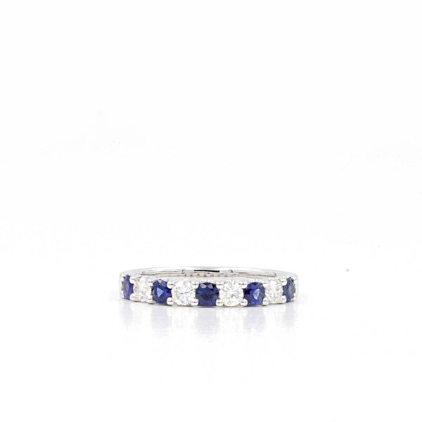 14K White Gold Sapphire and Diamond Band 5 Bright Blue Sapphires equal .52ctw and 5 Diamonds equal .55ctw | Blacy's Fine Jewelers