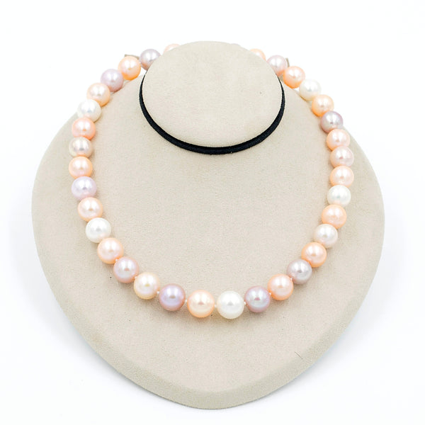 Multi Color Pink Tone Fresh Water Cultured Pearl Strand Rose Gold Plated Magnetic Clasp 18 Inch Length | Blacy's Fine Jewelers