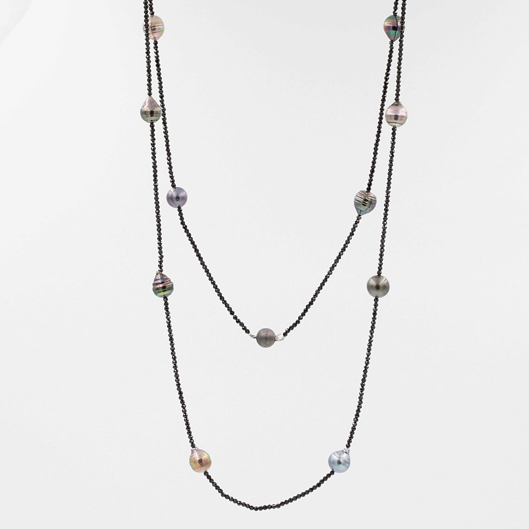 Tahitian Black Pearl and Black Spinel 36 Inch Necklace. | Blacy's Vault
