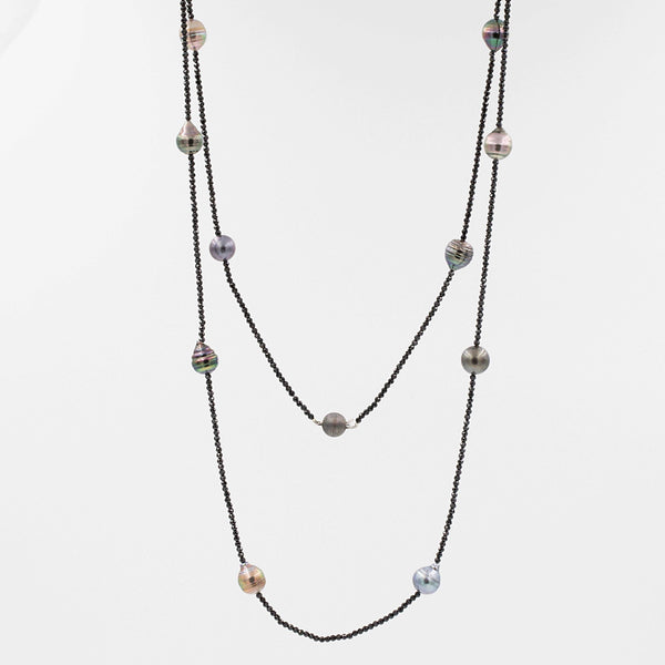 Tahitian Black Pearl and Black Spinel 36 Inch Necklace. | Blacy's Fine Jewelers