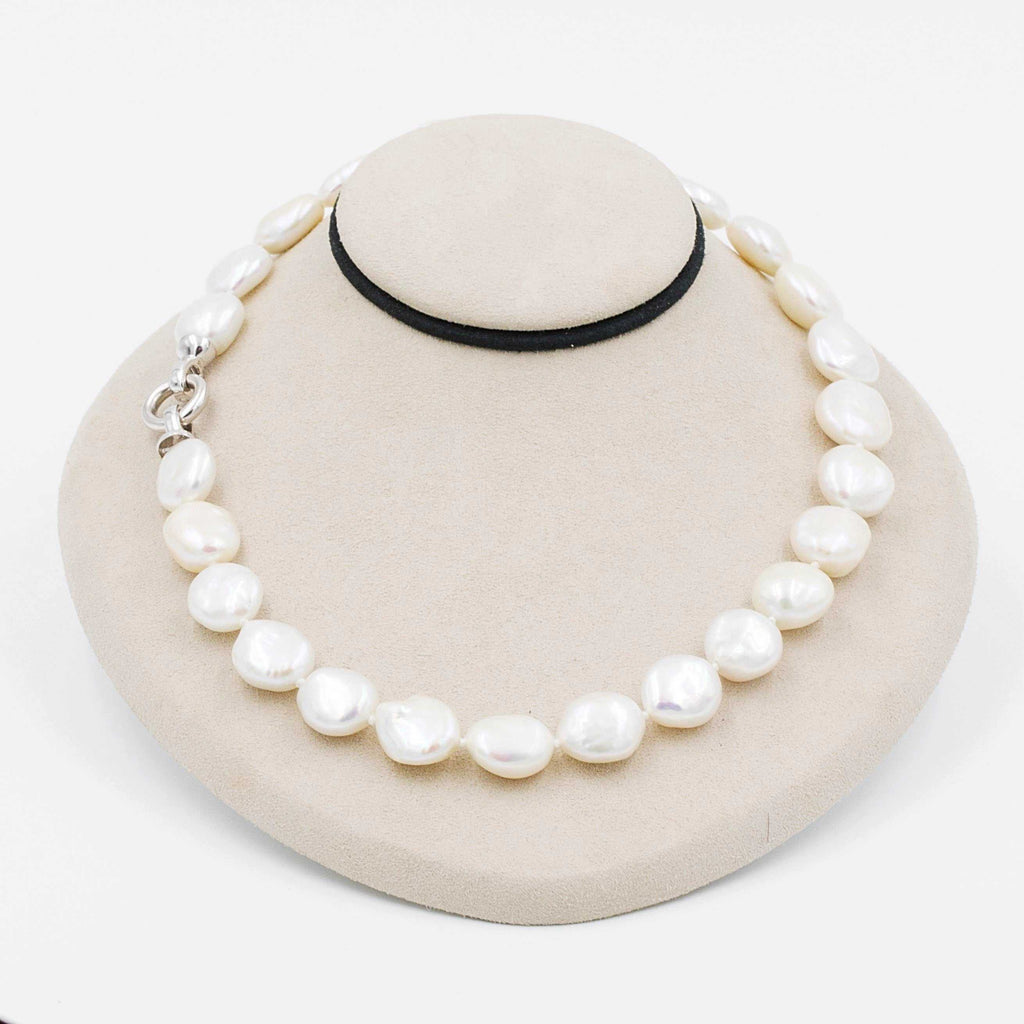 White Fresh Water Coin Pearls Individually Knotted Necklace Sterling Silver Clasp 16 Inch Length | Blacy's Fine Jewelers