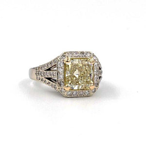 Fancy Light Yellow Radiant Cut and White Diamond Ring | Blacy's Vault