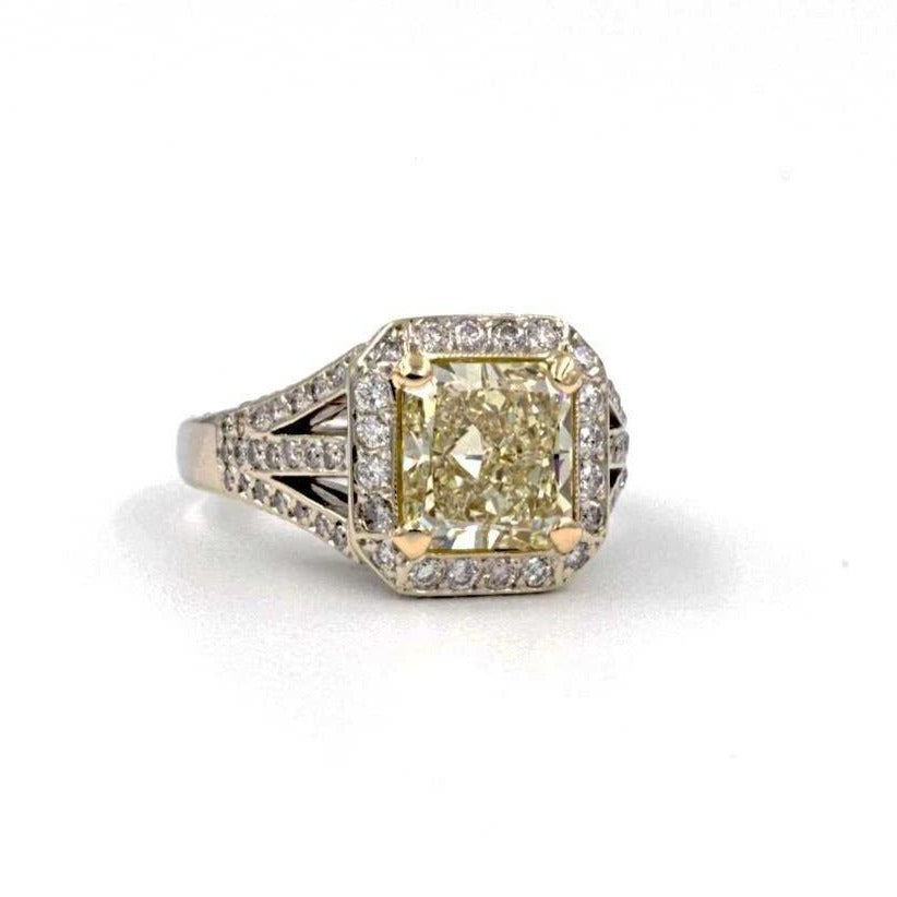 Fancy Light Yellow Radiant Cut and White Diamond Ring | Blacy's Fine Jewelers