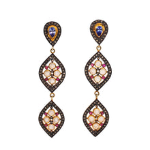 Load image into Gallery viewer, Moonstone and Black Diamond Dangle Earrings w/Tanzanite & Pink Sapphire Accents Sterling Silver | Blacy's Fine Jewelers Blacys Vault